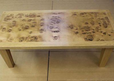 Burr oak coffee table